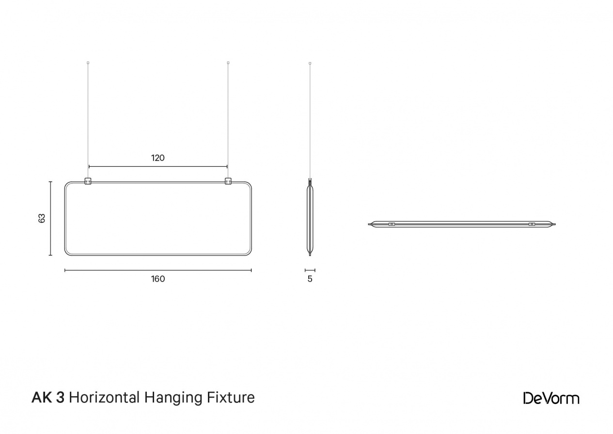 AK 3 Horizontal Hanging Fixture | Technical Drawing preview