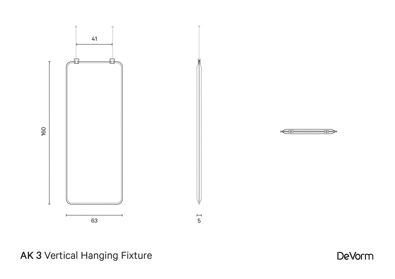 AK 3 Vertical Hanging Fixture | Technical Drawing preview