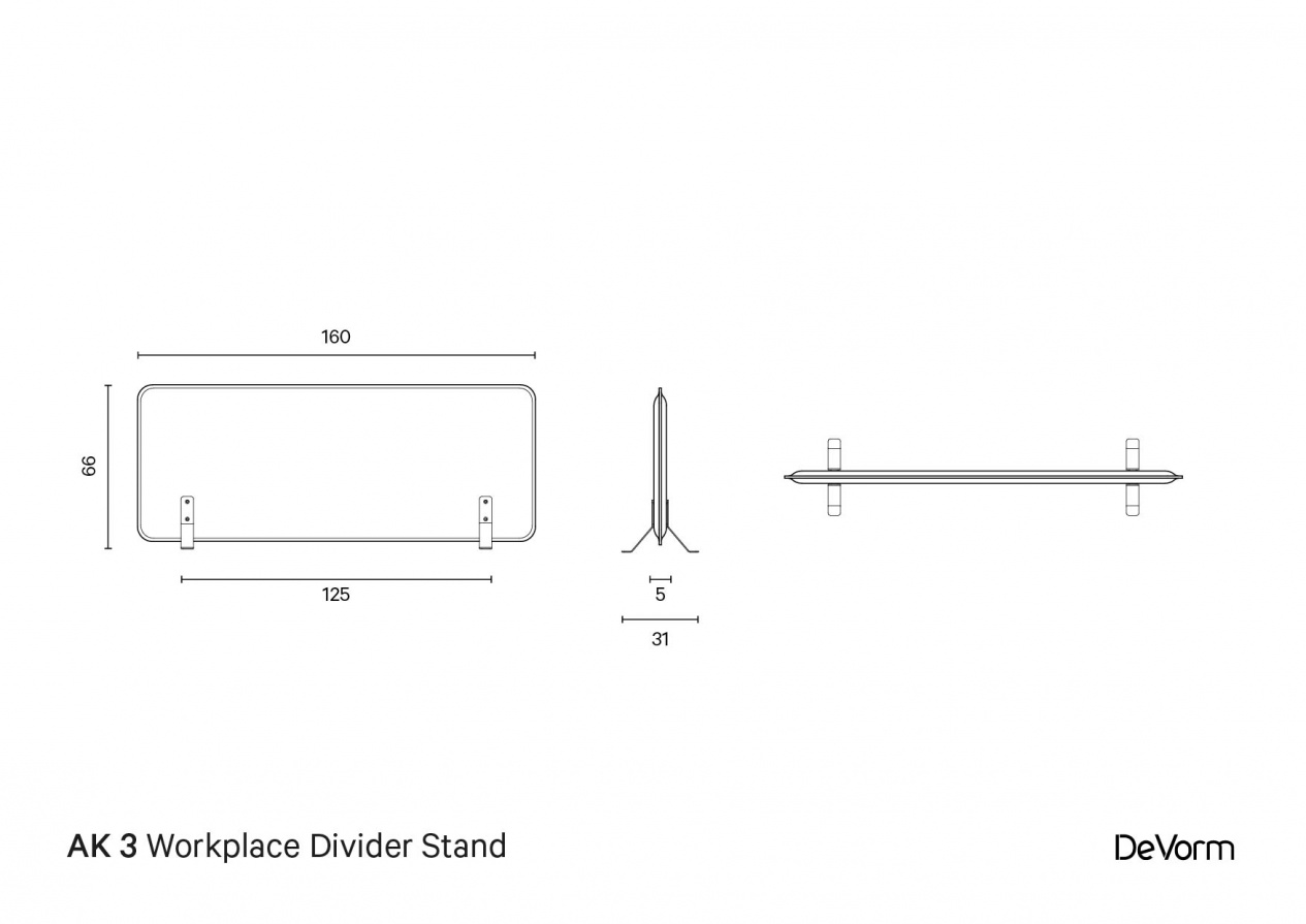AK 3 Workplace Divider Stand | Technical Drawing preview