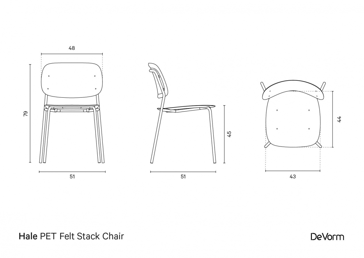 Hale PET Felt Stack Chair | Technical Drawing preview