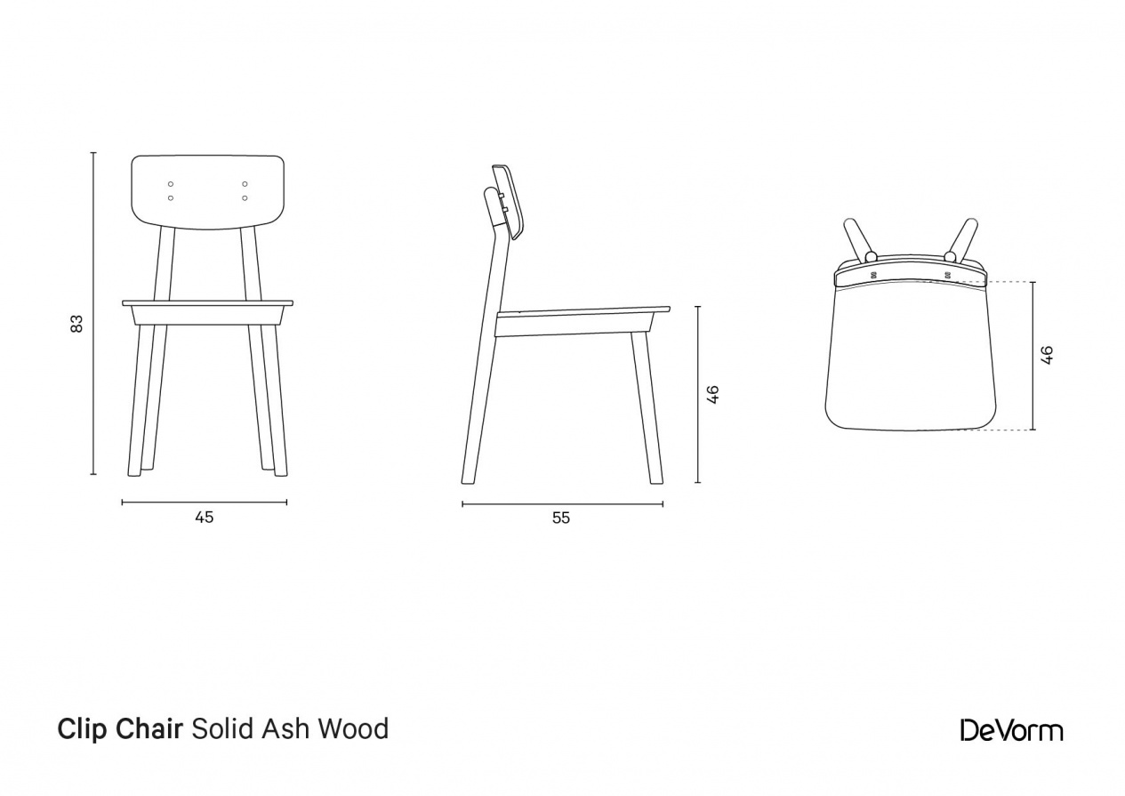 Clip Chair | Technical drawing preview