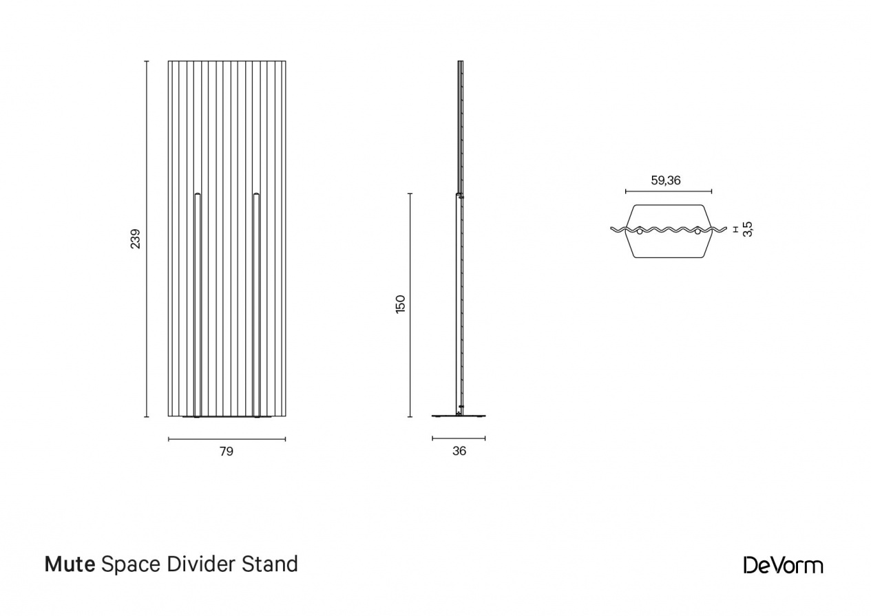 Mute Space Divider Stand | Technical drawing preview