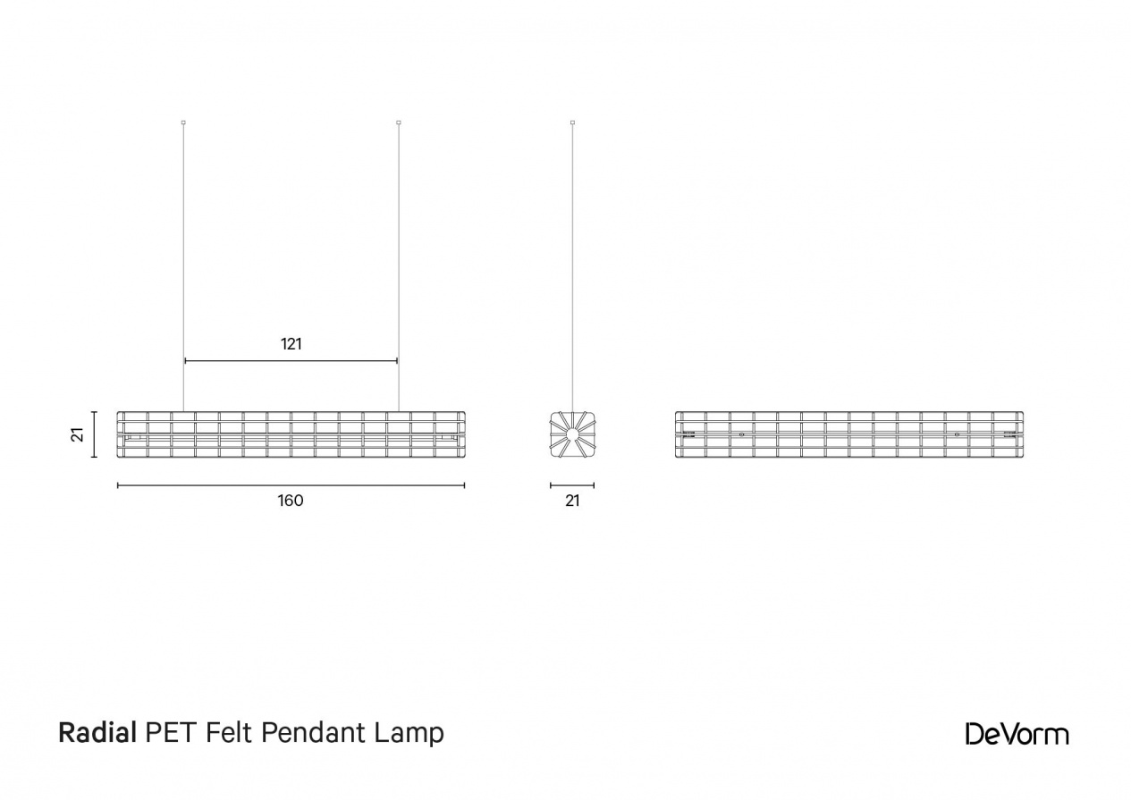 Radial PET felt lamp - Technical Drawing preview