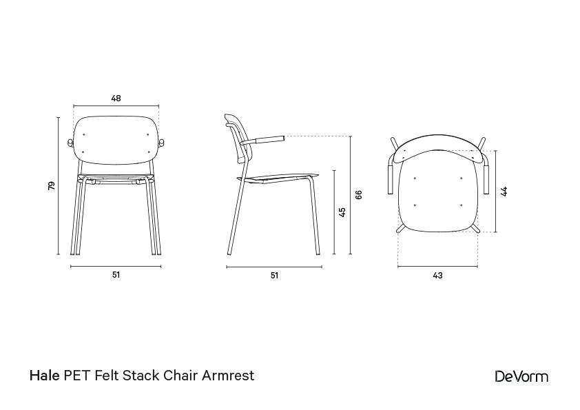 Hale chair + armrests  | Technical drawing preview
