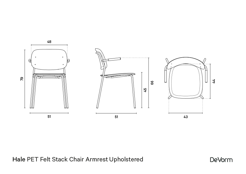 Hale chair + armrests + upholstered seat  | Technical drawing preview
