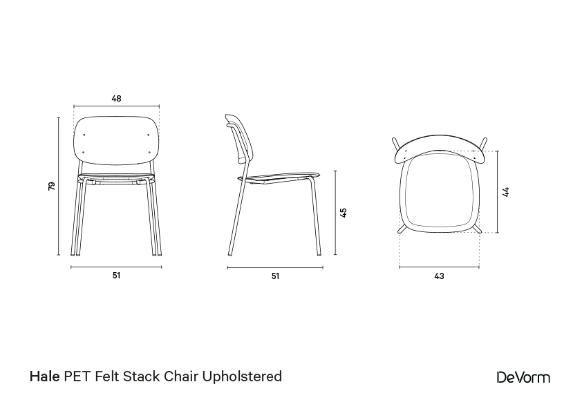 Halechair + upholstered seat  | Technical drawing preview