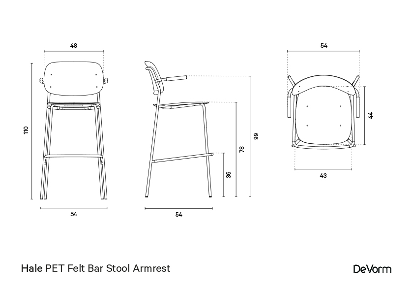 Hale bar stool + armrests | Technical drawing preview