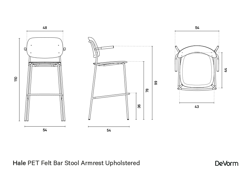 Hale bar stool + armrests + upholstered seat | Technical drawing preview
