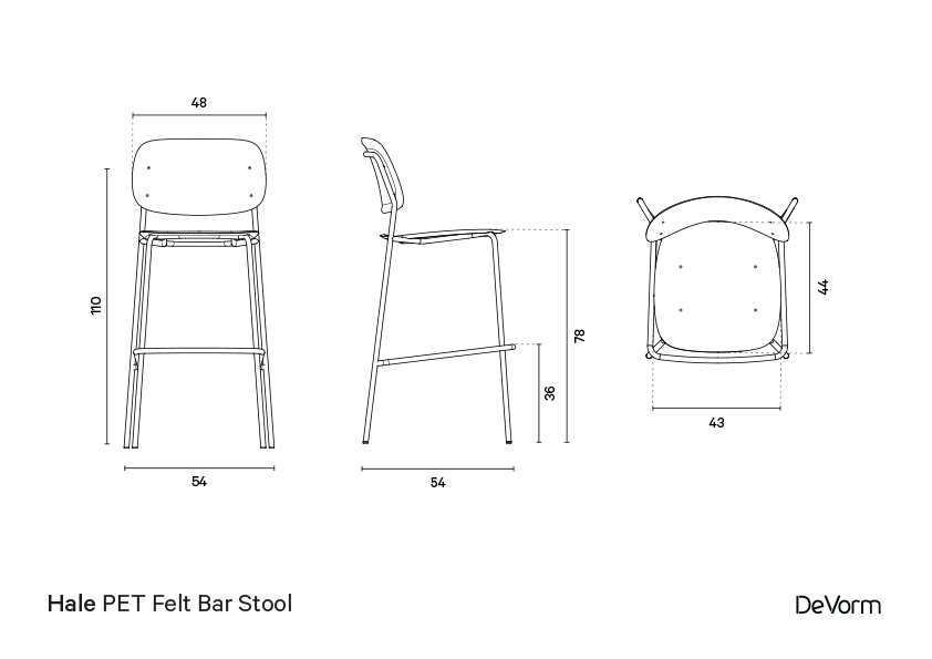 Hale bar stool | Technical drawing preview