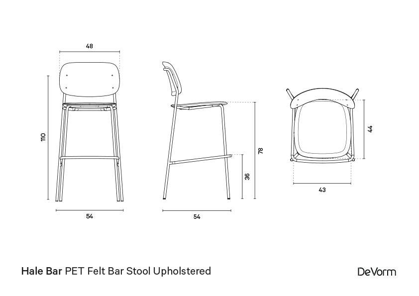 Hale bar stool + upholstered seat | Technical drawing preview