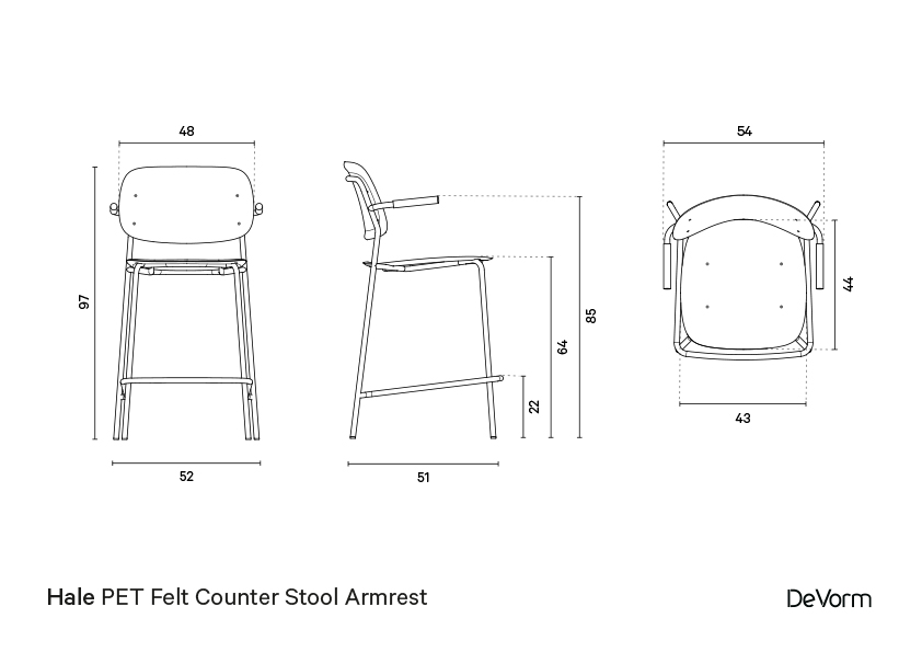 Hale counter stool + armrests | Technical drawing preview