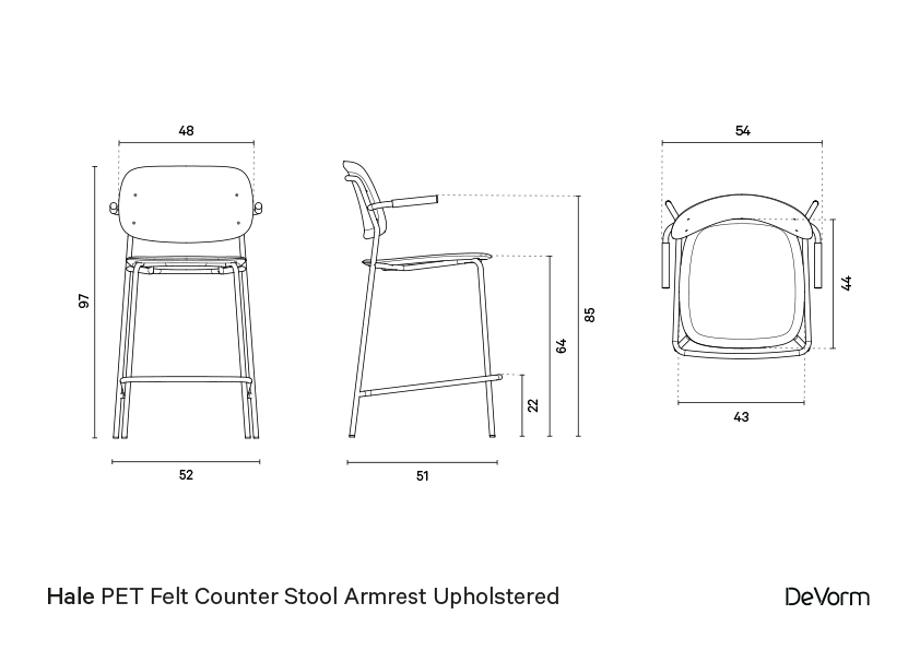 Hale counter stool + armrests + upholstered seat | Technical drawing preview