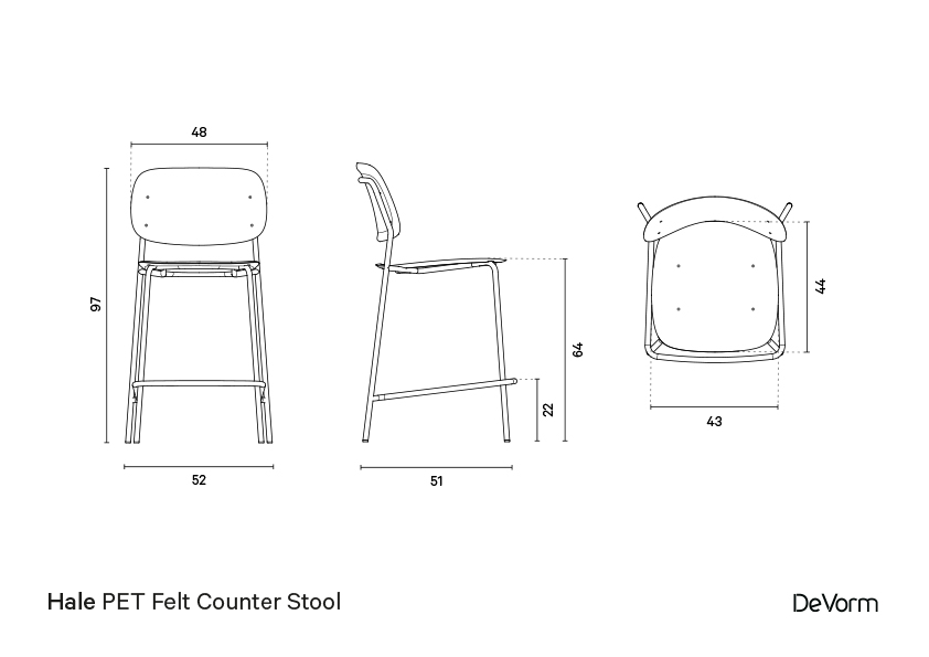Hale counter stool | Technical drawing preview