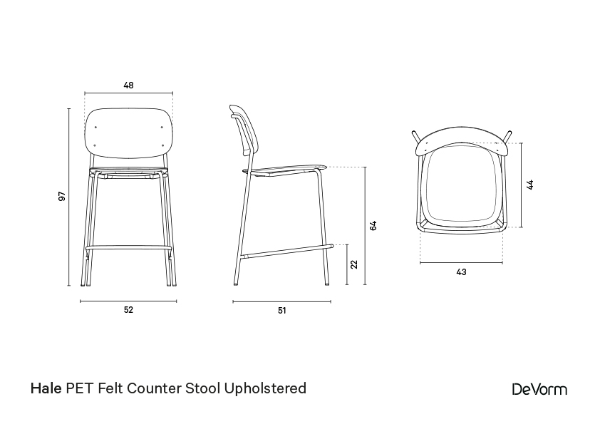 Hale counter stool + upholstered seat | Technical drawing preview
