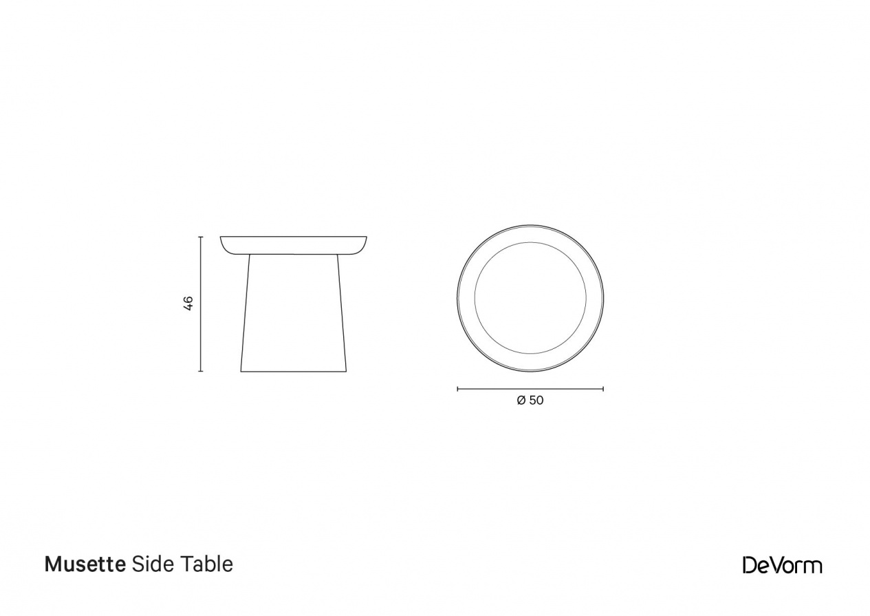 Musette Side Table | Technical drawing preview