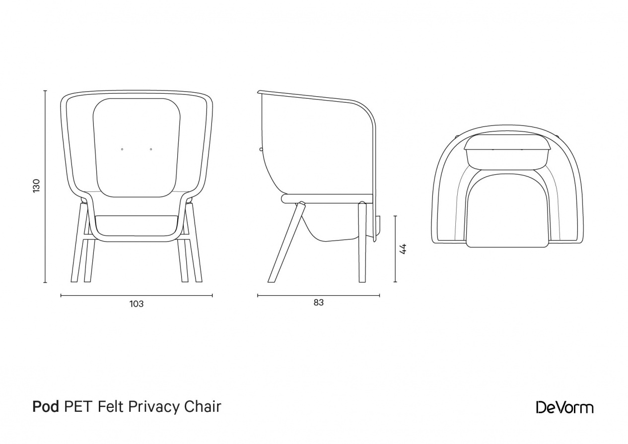 Pod chair | Technical drawing  preview