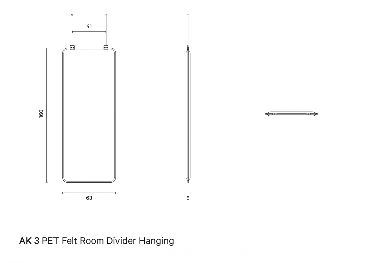 AK 3 PET Felt Room Divider Hanging | Technical drawing preview