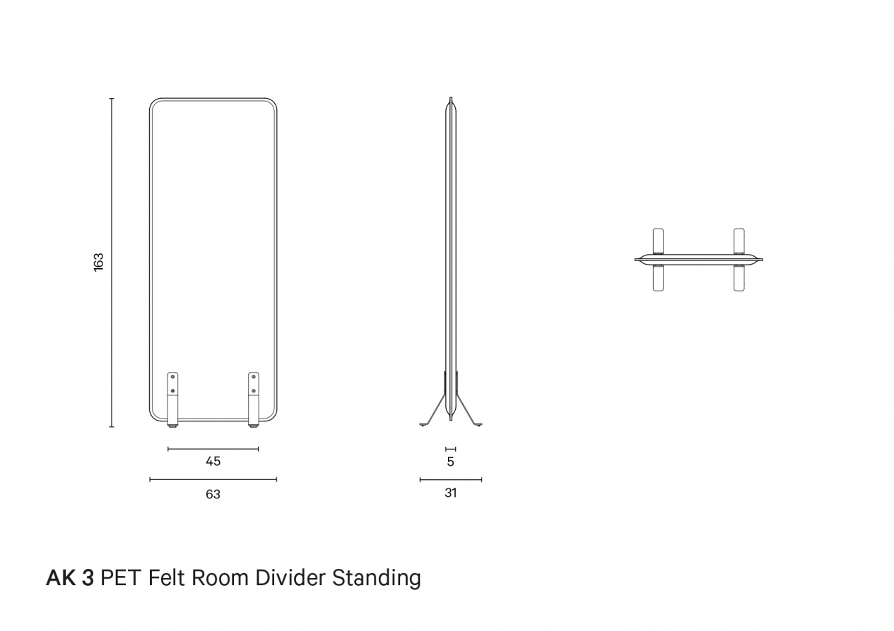 AK 3 PET Felt Room Divider Standing | Technical drawing preview