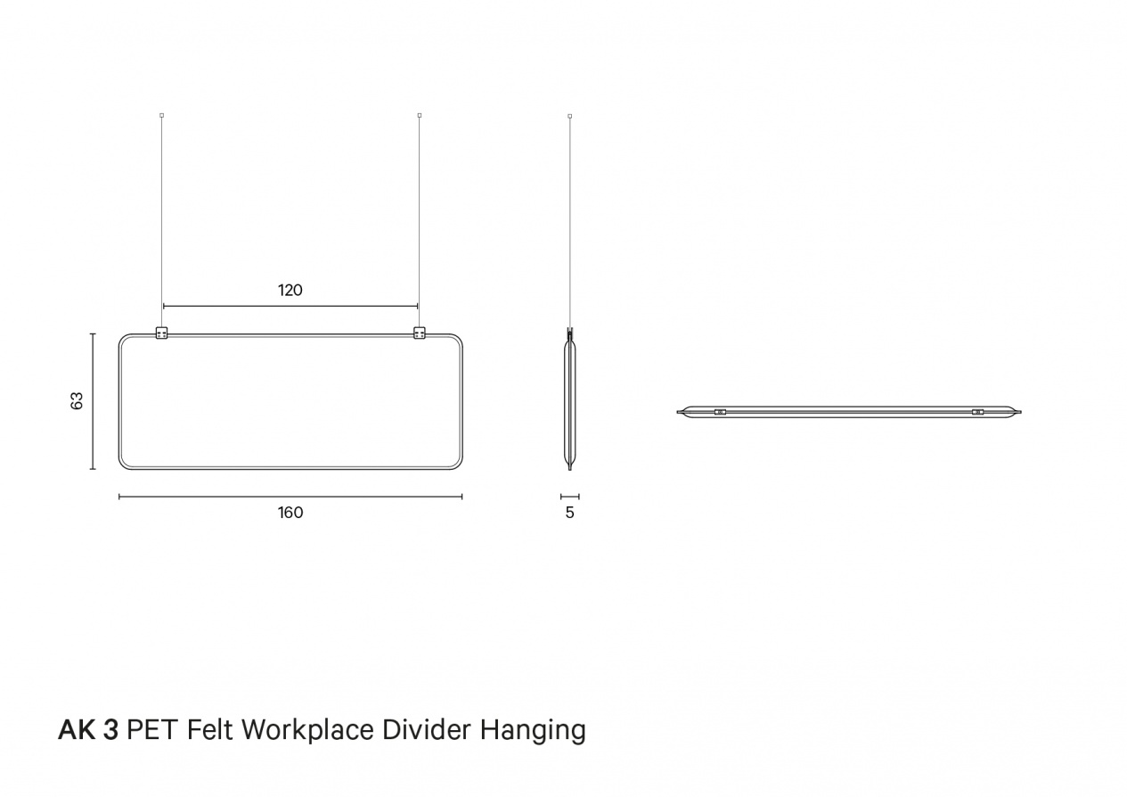 AK 3 PET Felt Workplace Divider Hanging | Technical drawing preview