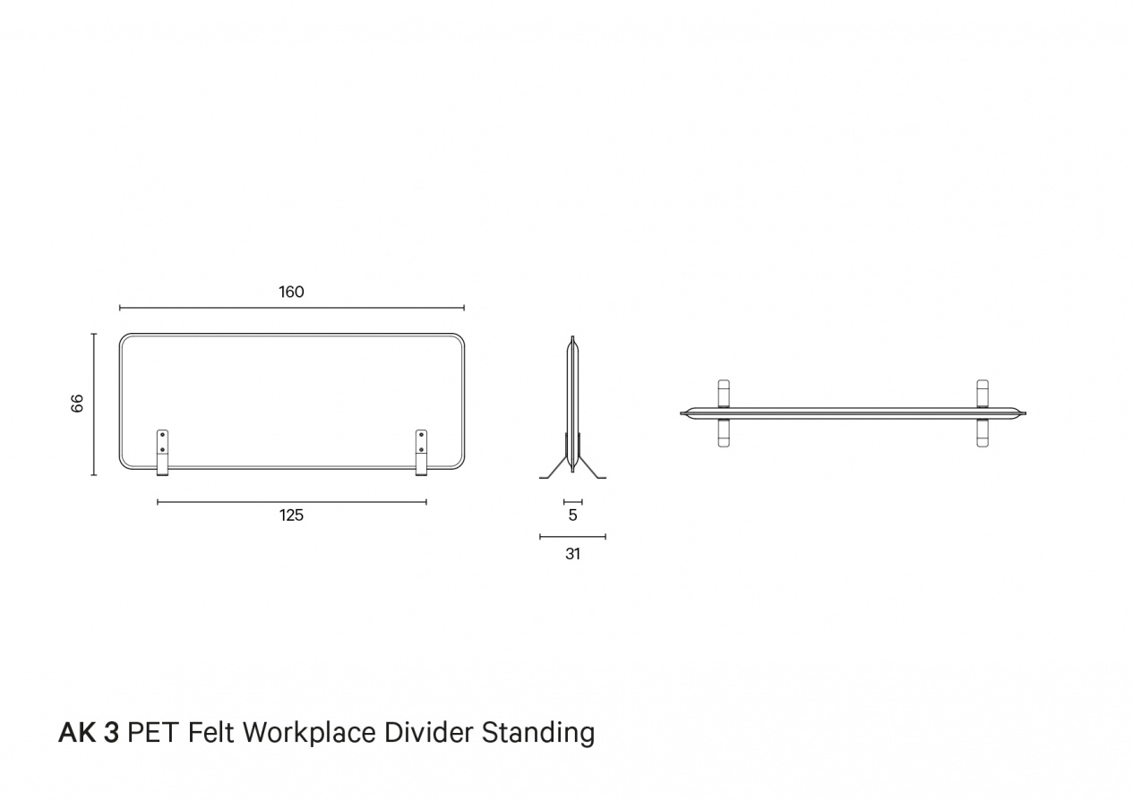 AK 3 PET Felt Workplace Divider Standing | Technical drawing preview