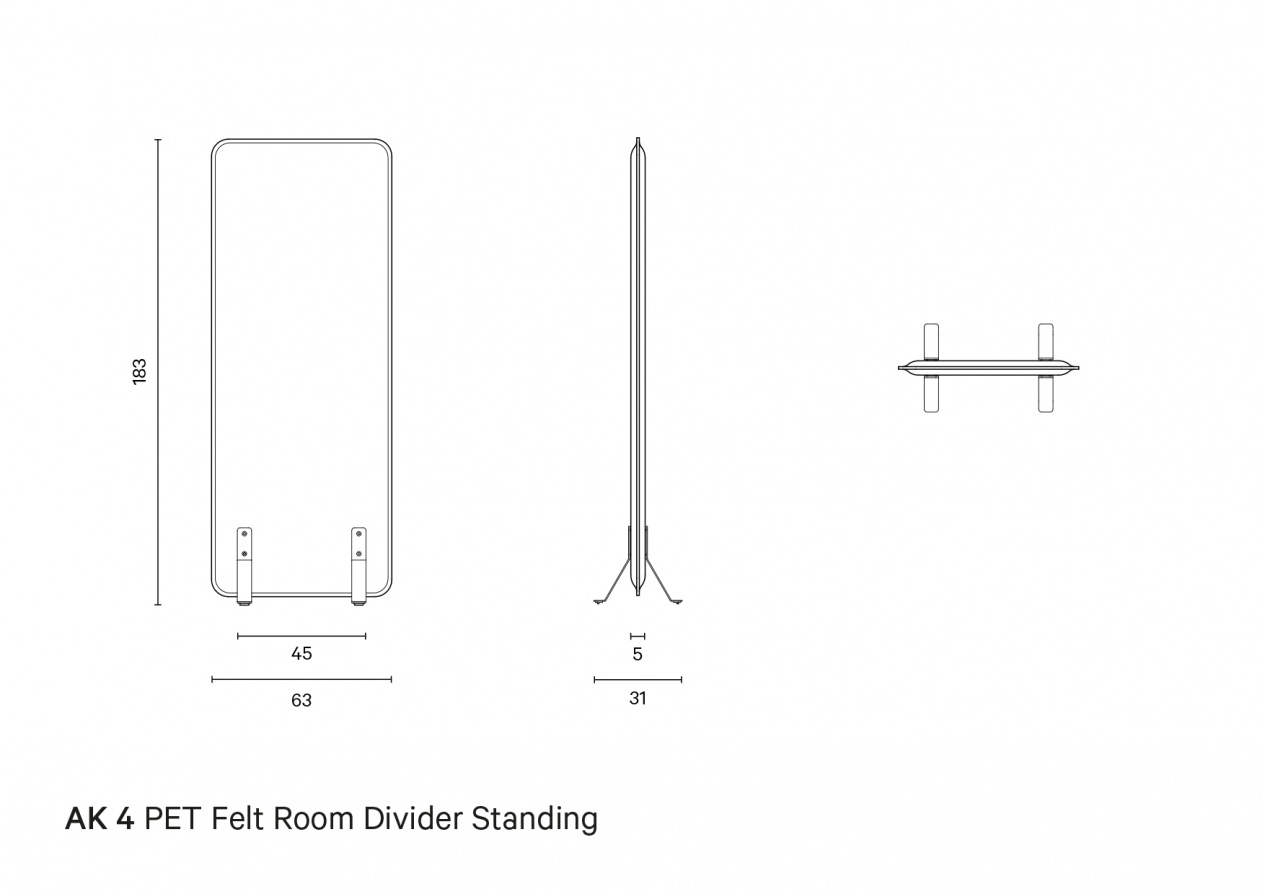 AK 4 PET Felt Room Divider Standing | Technical drawing preview