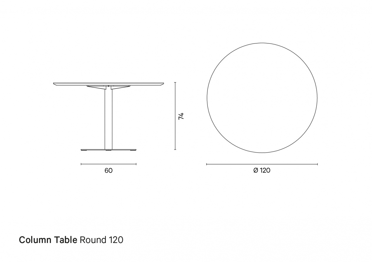 Column Table Round 120 | Technical drawing preview