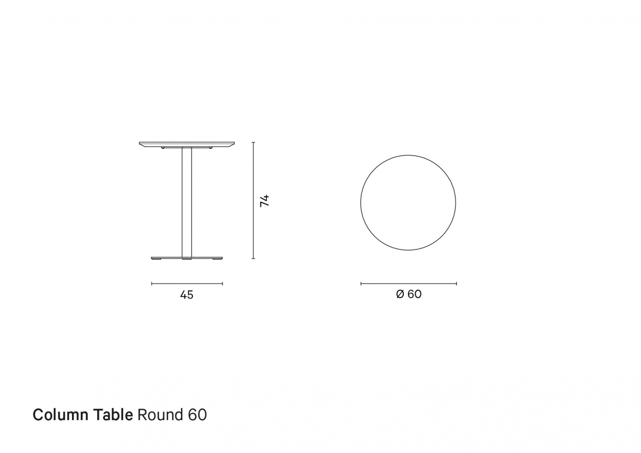 Column Table Round 60 | Technical drawing preview