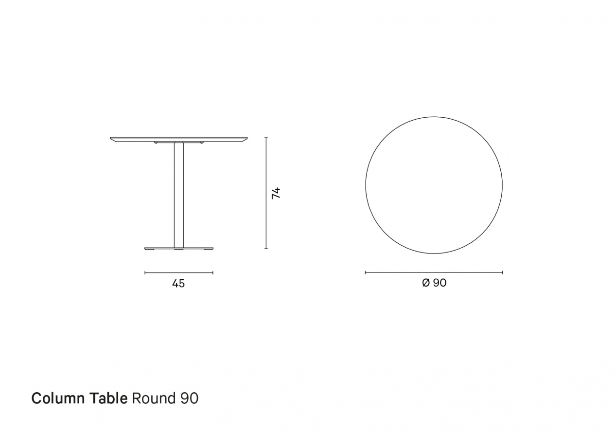 Column Table Round 90 | Technical drawing preview