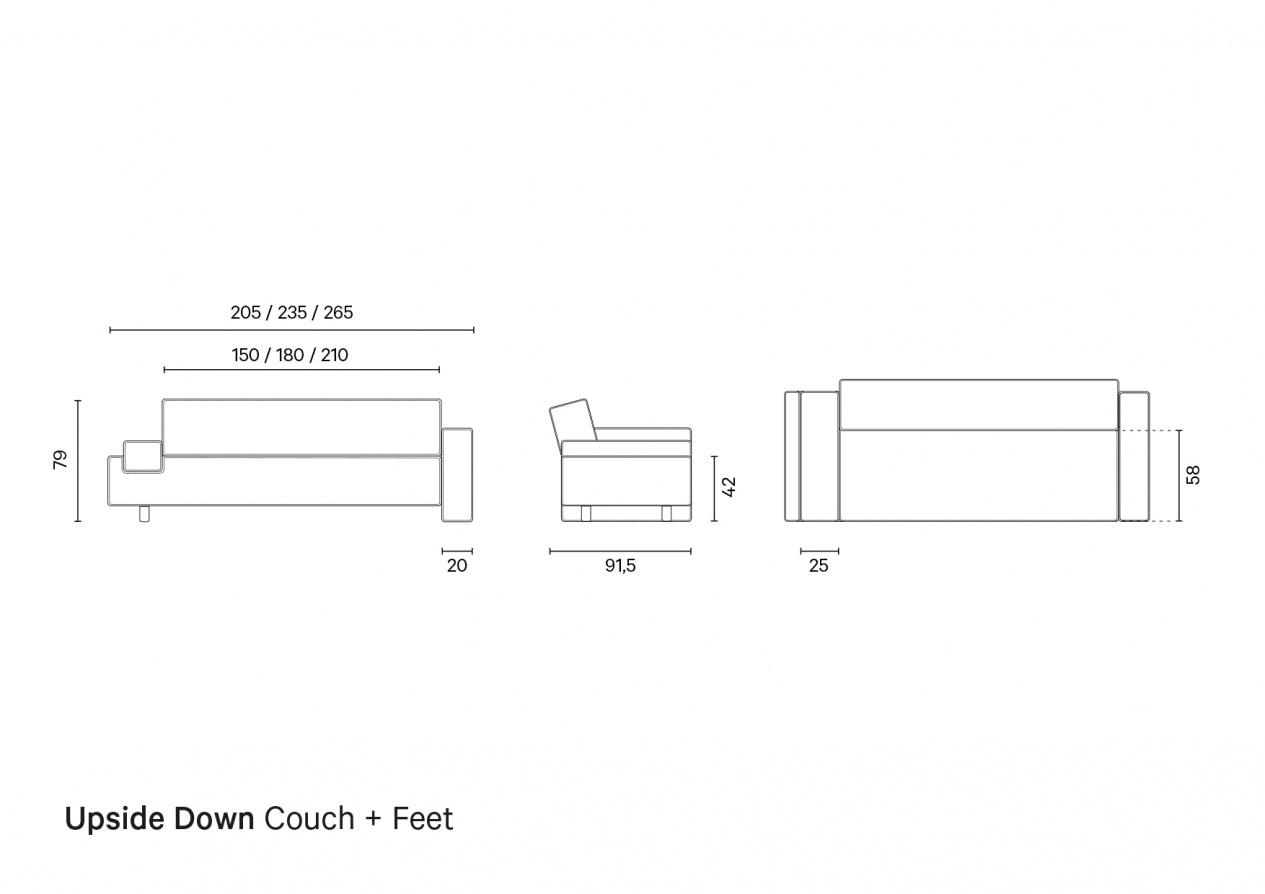 Upside Down Couch + Feet | Technical Drawing preview