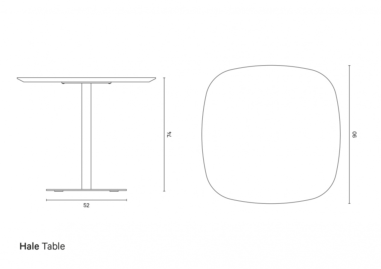 Hale Table | Technical drawing preview