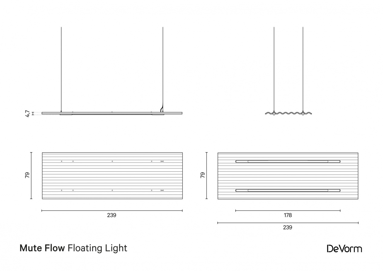 Mute Flow Floating Light | Technical drawing preview