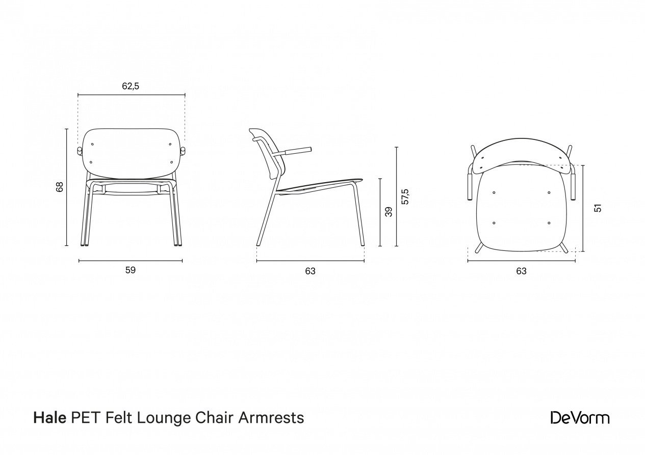 Hale Lounge Chair Armrests | Technical drawing preview