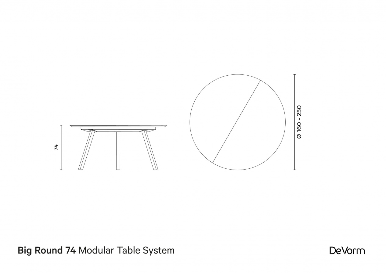 Big Round 74  | Technical drawing preview