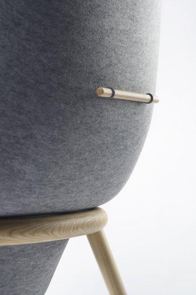Pod chair Benjamin Hubert PET felt detail De Vorm