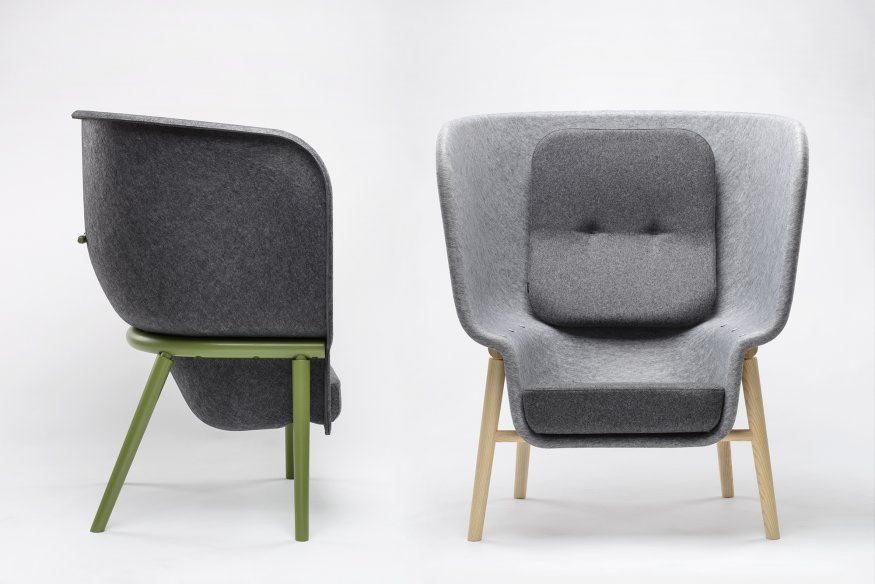 POD PET felt privacy chair by Benjamin Hubert