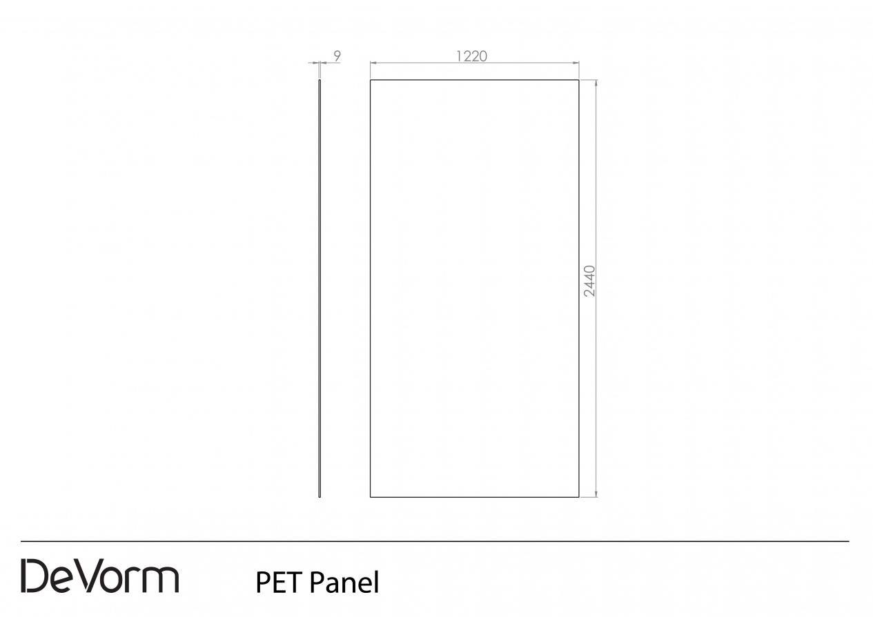 PET Panel - Technical drawing preview